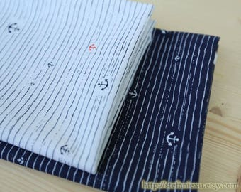 Nautical Marine, Red and White Anchors, Chic Anchor Stripes(Choose Your Color)-Japanese Cotton Fabric (Fat Quarter)