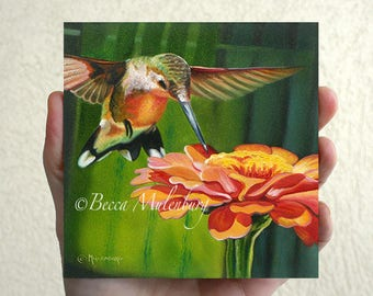 NEW! Ruby-throated Hummingbird original oil painting art wildlife nature miniature bird