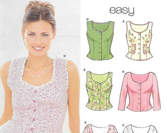 New Look 6945 UNCUT Misses Peasant Lined Top Bodice Camisole Sewing Pattern Sizes 8 to 18 Prairie Costume