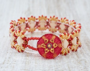 Coral and Cream MiniDuo Bead Woven Bracelet, Coral and Cream Silky Beads and MiniDuo Beaded Bracelet