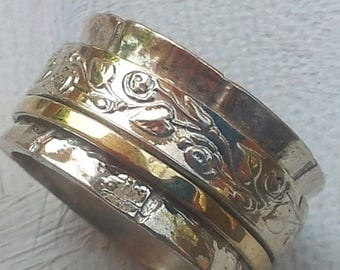 ON SALE Spinner ring silver gold designer jewelry floral Israeli rings in all sizes