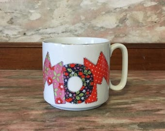 Christmas Sale MOM Patchwork Mug Vintage 1970s 1980s Mother's Day