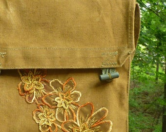 Floral Embroidery on Vintage Army Canvas Messenger Purse - Feminine meets Military
