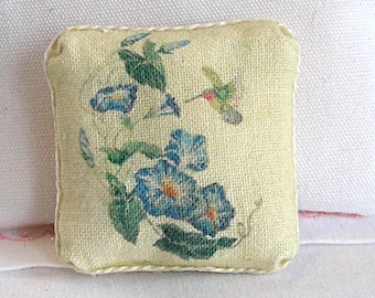 1:12 Pillow - Morning Glories & Hummingbird - Handmade Dollhouse Scale Miniature - Shabby Cottage Chic *Free Shipping*