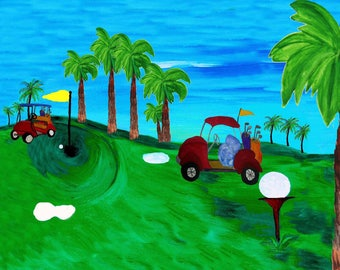 Golf art print from my painting.