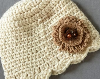 Crochet beanie ivory  hat winter hat for baby and toddler