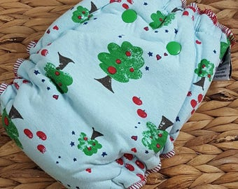Johnny Apple Seed - One Size (11-35#) Bamboo/OBV Fitted Cloth Diaper
