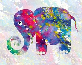 ELEPHANT AGAINST the WIND art elephant africa color texture art child room nursery wall decor