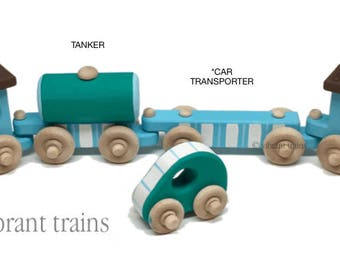 Custom Wooden Toy Train Hand Made and Hand Painted Per Your Request