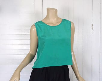 90s Silk Tank Top in Teal Blue- 1990s Sleeveless Blouse- Jade Green- Cropped / Crop Top-
