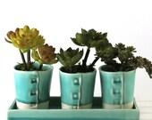 Turquoise Planter, Succulent Planter, Windowsill Planter, Succulent Flower Pot, Pottery Flower Pots, Desk Planter, Kitchen Decor, 382