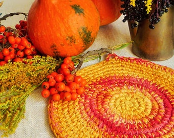 Crochet Pumpkin Orange Hot Pad - Autumn Table Decor - Thanksgiving Home Decor - Crochet Pumpkin Orange Place Mat - Farmhouse Table Decor