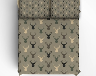 Custom  camo color deerhead Bed Sheets and Pillowcases, All Bed Sizes including Crib, Toddler, Twin, Twin XL, Queen and King