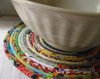 Bohemian Coiled Multicolored Mat, Chair Pad, Hot Pad, Trivet, Placemat - 14 Inch Round