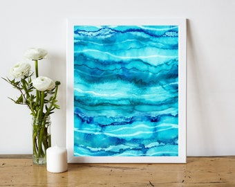 Beach House Decor, Blue Abstract Art Print, Abstract Water Printable, Ocean Abstract Painting Print, Alcohol Ink Painting, 8 x 10 Print