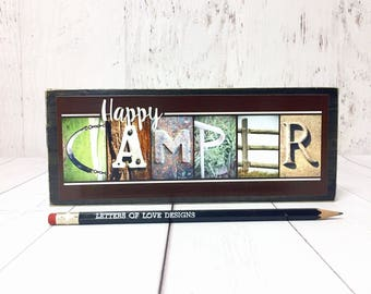 Happy Camper Sign, Camping Signs, Gifts for Him, Father's Day Gift, Dad Gifts, Dad Birthday Gift, Husband Gift, Camping Decor, Camper Decor
