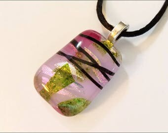 Lavender dichroic glass pendant - necklace