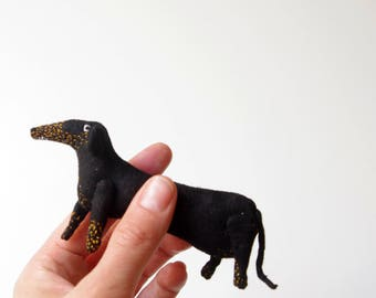 Black Dachshund.  Pin.