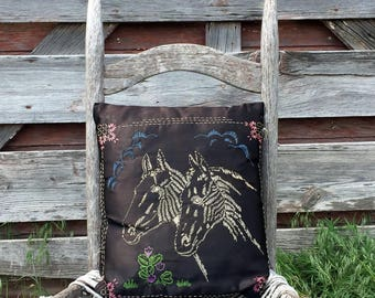 Vintage Black Satin Pillow Embroidered Horse Head Profiles Equestrian Rustic