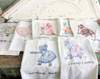 Vintage 1930's Applique Embroidered Sun Bonnet Sue Days of the Week Dish Towels