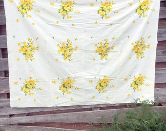 Vintage Wilendure Tablecloth Yellow Flowers All Cotton 69x52""