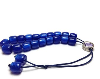 Greek Komboloi - Worry beads - dark blue - Greek flag - anti stress - stop smoking