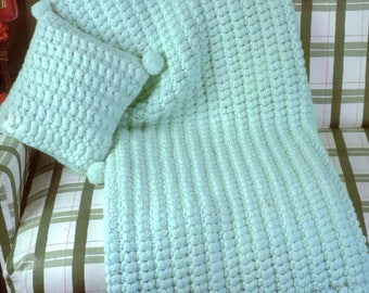 INSTANT DOWNLOAD PDF Vintage Crochet Pattern   Puff Stitch and Pompom Afghan and Pillow Throw Blanket Cushion