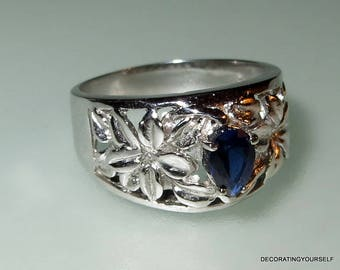 Sapphire Man Made Sterling Silver Ring Size 7 1/2
