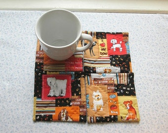i love my dog set of hand quilted mug rugs coasters