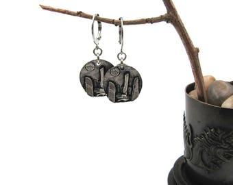 NEW Leverback Standing Stones Medallion Earrings