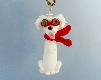 Lampwork Dog - Steampunk - Maltese with Puppy Cut - Lampwork Glass Dog Pendant SRA