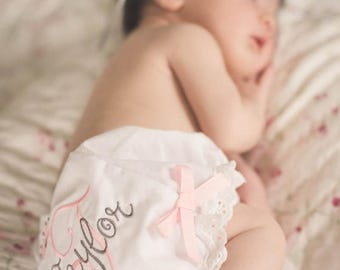 ON SALE Personalized Baby Bloomers, Custom Monogram Baby Girl Bloomers, Baby Girl Bloomers
