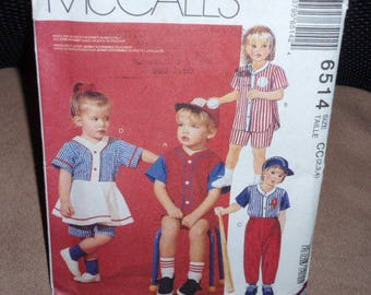 McCall's 6514 Children's Toddler's Rompers, Tops, Skirt, Pants, Shorts, Hat  Size 2,3,4 New-Uncut