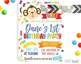 Monkey Invitation | Boy Monkey Invites | Digital or Printed | Our Little Monkey | Lil Monkey Invites | Monkey Decorations | Monkey Party |
