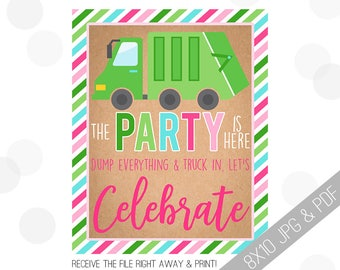 Garbage Truck Party Printable Sign | Girl Truck Welcome Sign | Truck Door Sign | Garbage Truck Welcome | Garbage Party | Girl Truck Party