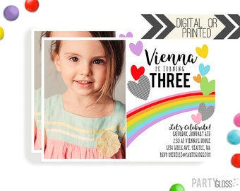 Rainbow Hearts Birthday Invitation | Digital or Printed | Hearts Party | Heart Invite | Rainbow Hearts | Heart Invitation | Heart Party