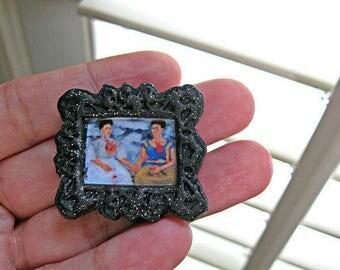 Frida Kahlo Pin Portrait Black frame mexican folk altered art day of the dead hispanic dia de los muertos mexico brooch