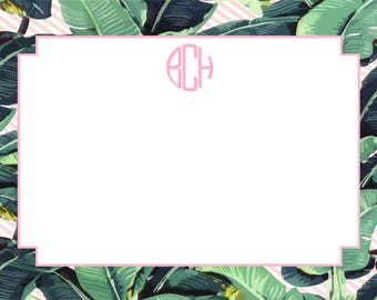 Tropical Leaf Stripe Stationery, Invitation or Announcement Set
