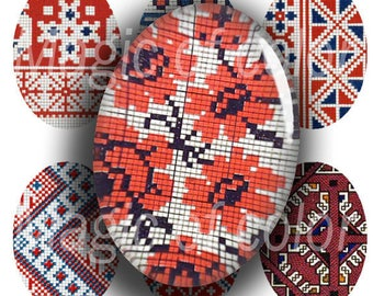 Folk Embroidery  - 90  18x25 mm Oval  JPG images - Digital  Collage Sheet