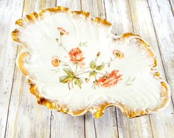 Antique Poreclain Serving Bowl with Rose Design and Gold Gilt from Germany