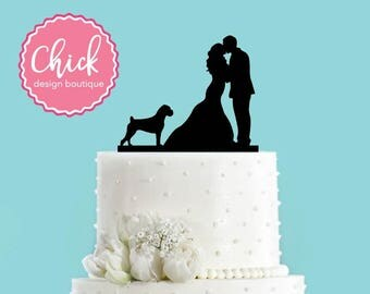 Couple Kissing with Boxer Dog Acrylic Wedding Cake Topper