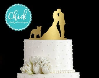 Pit Bull Dog Wedding Cake Topper Hand Painted in Metallic Paint with Couple Kissing