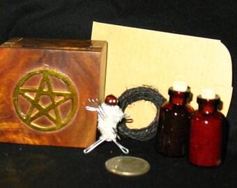 Miniature Hexing/Binding Kit~Includes Black Salt and more~Wood Pentacle Box