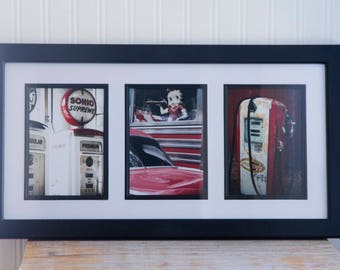 Old Gas Station Photography in a Triptych Frame, Betty Boop with Gasoline Pumps, Mid Century Pennzoil  Man Cave