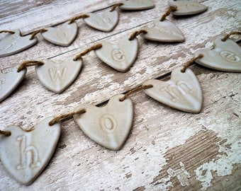 FREE SHIPPING- Hand made ceramic bunting, Home sweet Home, ceramic loveheart hanger, home decor