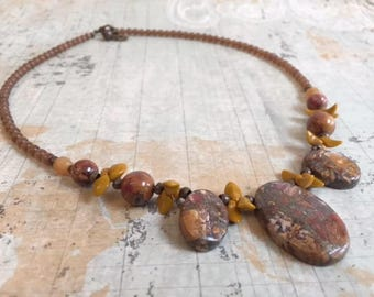 Picasso Jasper and Czech Glass Necklace Earring Set, Brown, Mustard Yellow, Gemstone Necklace