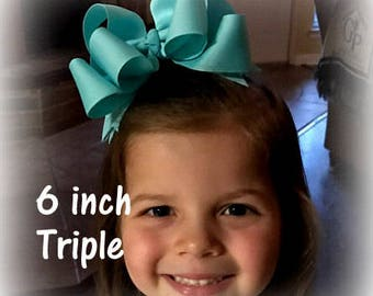 Large Hair Bows, Girls Big Hairbows, Boutique Hair Bows, Lot Set of 10 Hair Bows, Triple Layered Bows, 6 inch Bows, Wholesale Funky Bows