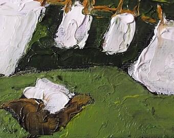 Miniature Impressionist Painting 4x4 Backyard Clothesline ArtLaundry Washday LANDSCAPE Lynne French