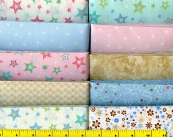 "Hugs Light Blue Pink Green Tan Jelly Roll 40 - 2.5"" Strips Quilting Fabric #b24"