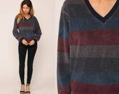 Retro Sweatshirt Striped V NECK Sweatshirt Long Sleeve Shirt 80s Grunge Retro Top 70s Retro Boho 1980s Pullover Red Blue Grey Medium